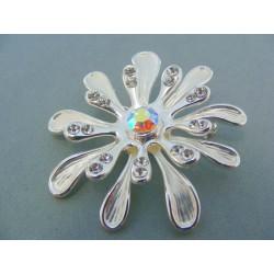 Brošna ch. oceľ ozdobená kamienkami tvar kvetu VO2532