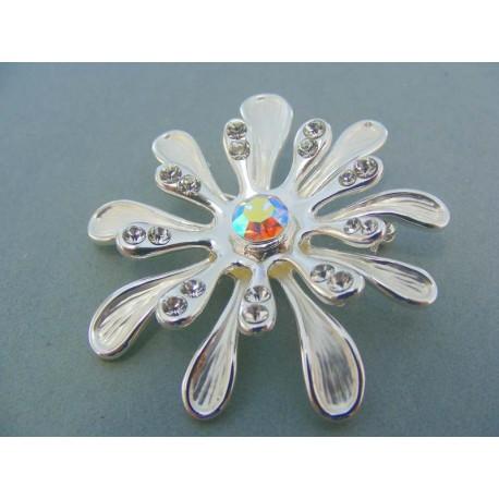 Brošna z ocele ozdobená kamienkami tvar kvetu