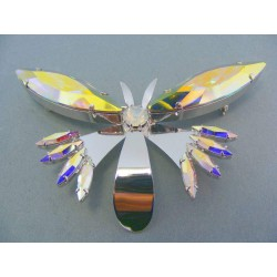 Brošňa ch. oceľ v tvare motýľa kamienky VO2805
