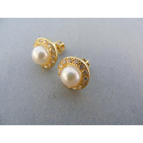 Zlaté náušnice žlté zlato perla kamienky šrubovačka