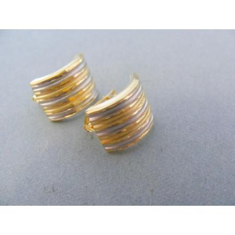 Náušnice oválny tvar žlté biele zlato