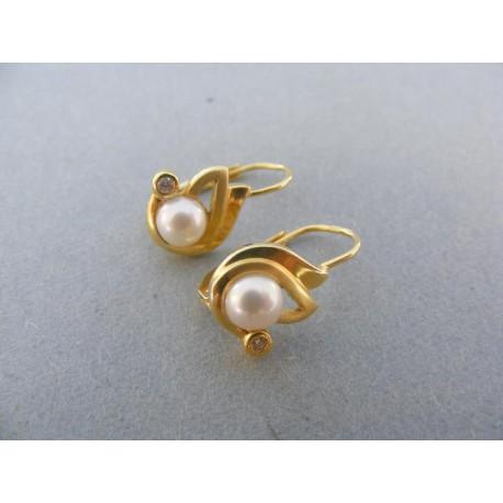Náušnice žlté zlato perla kamienok