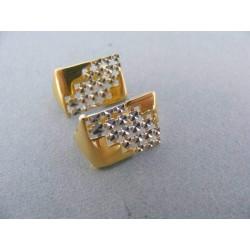 Náušnice obdĺžniky dvojfarebné zlato