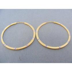 Zlaté náušnice kruhy žlté zlato s bielym DA192V