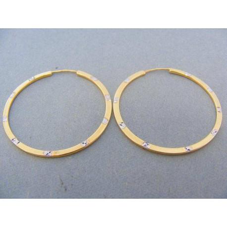 Náušnice kruhy žlté zlato s bielym