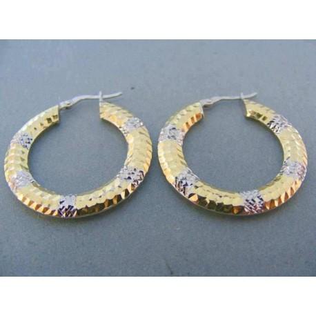 Zlaté náušnice žlté biele zlato kruhy vzorované