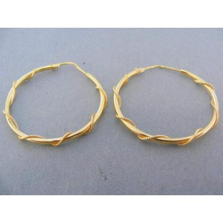 Náušnice kruhy žlté zlato točený vzor