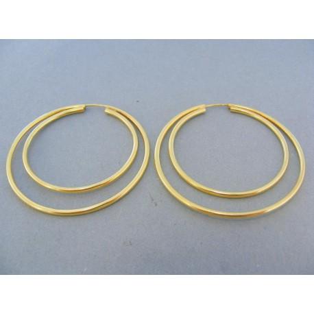 Náušnice dvojité kruhy žlté zlato