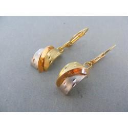 Zlaté náušnice visiace zaoblené v trojfarebnom zlate DA243V