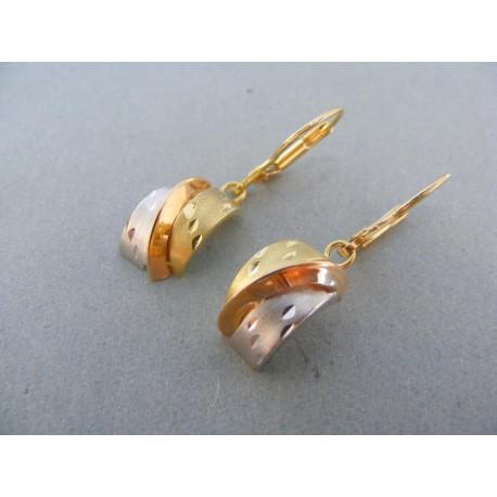 Visiace náušnice zaoblené v trojfarebnom zlate