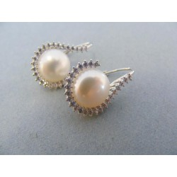 Zlaté náušnice biele zlato perla kamienky DA514B