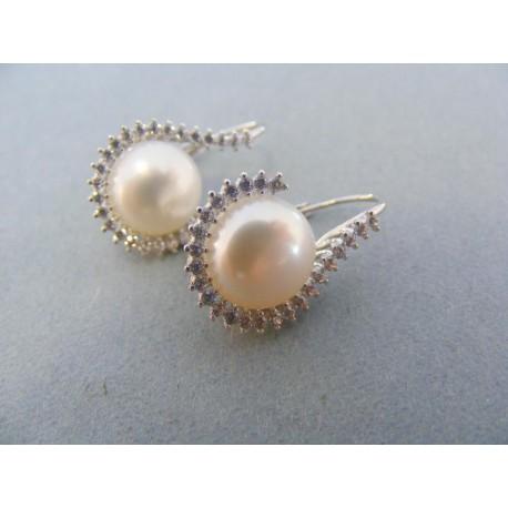 Náušnice biele zlato perla kamienky