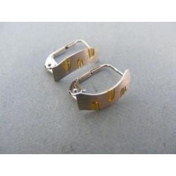 Zlaté náušnice obdĺžnikove žlté biele zlato DA157V