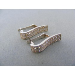 Zlaté náušnice biele zlato kamienky zaoblené DA302B