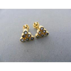 Zlaté náušnice šrubovačka žlté zlato kamienky tvar trojuholník DA157Z