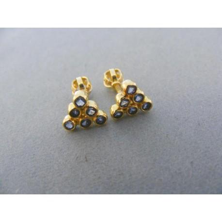 Zlaté náušnice šrubovačka žlté zlato kamienky tvar trojuholník