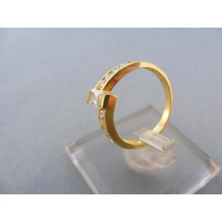 Dámsky prsteň s kamienkami zirkónu žlté zlato