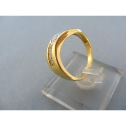 Zlatý dámsky prsteň žlté zlato kamienky malé guličky DP54428Z