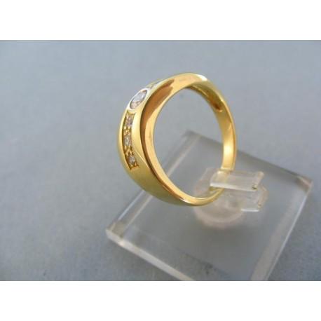 Zlatý dámsky prsteň žlté zlato kamienky malé guličky