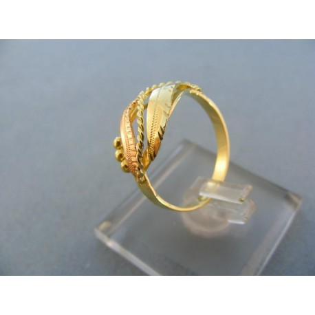 Krásny dámsky prsteň žlté červené zlato guličky