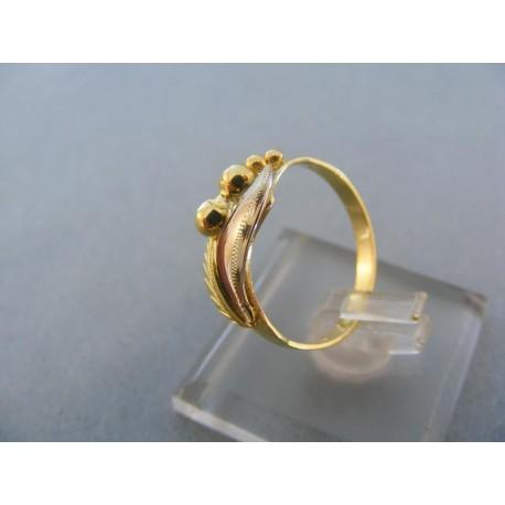 Vzorovaný dámsky prsteň žlté biele zlato
