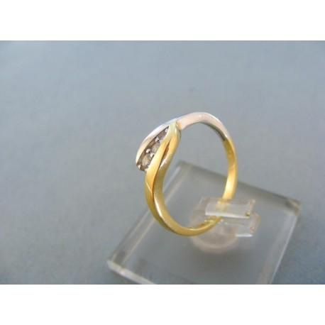 Dámsky prsteň žlté biele zlato kamienky zirkónu