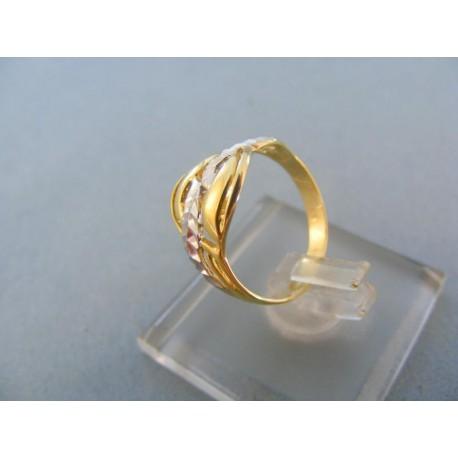 Dámsky prsteň vzorovaný žlté biele zlato