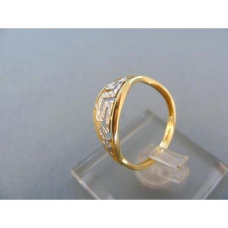 Vzorovaný dámsky prsteň dvojfarebné zlato