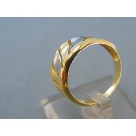 Pekný moderný dámsky prsteň žlté biele zlato