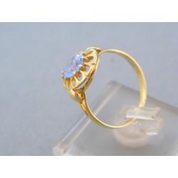 Zlatý prsteň dámsky žlté zlato modrý kameň tvar kvietok DP56230Z