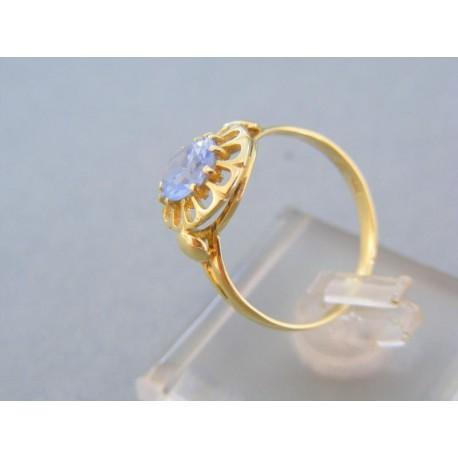 Prsteň dámsky žlté zlato modrý kameň tvar kvietok