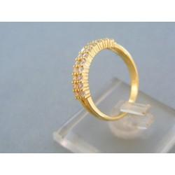 Dámsky prsteň žlté zlato v dvoch radoch malé kamienky