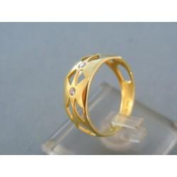 Zlatý dámsky prsteň žlté zlato kamienky DP57289Z