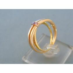 Zlatý prsteň trojitý trojfarebné zlato farebné kamienky DP57495V