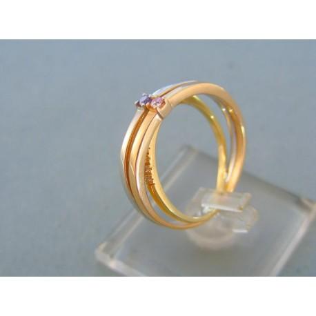 Trojitý prsteň trojfarebné zlato farebné kamienky