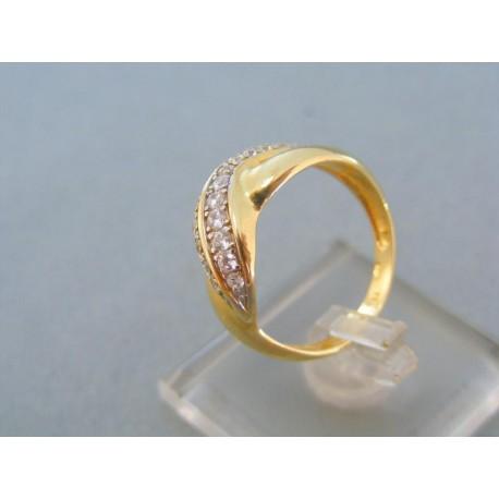 Pekný dámsky prsteň žlté zlato zirkóny
