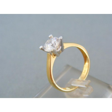 Jemný dámsky prsteň dvojfarebné zlato zirkón