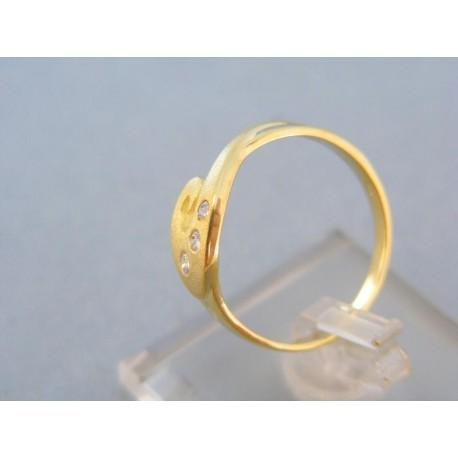 Prsteň zatočený malé zirkóniky žlté zlato