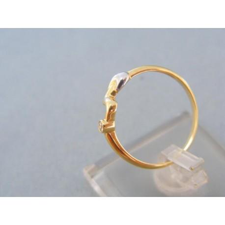 Jemný prsteň žlté biele zlato kamienok točená vlnka