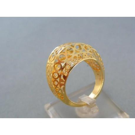 Veľký dámsky prsteň žlté zlato vzorovaný