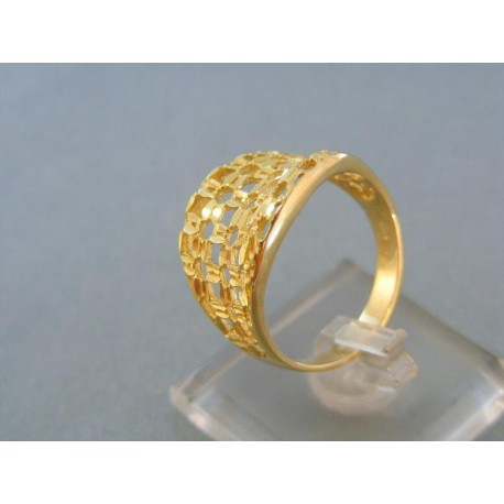 Krásny vzorovaný dámsky prsteň žlté zlato