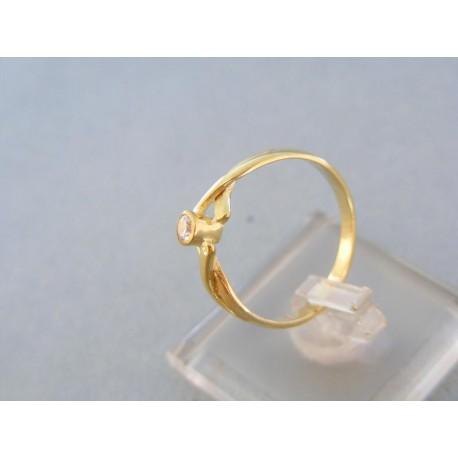 Dámsky prsteň žlté zlato zirkón krížovany