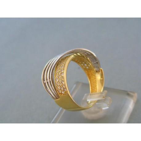 Exkluzívny dámsky prsteň žlté biele zlato zirkóny