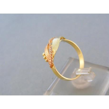 Zlatý prsteň žlté červené zlato vzorovaný guličky