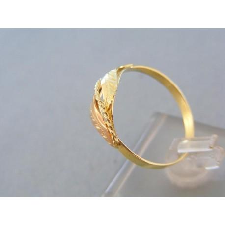 Zlatý prsteň žlté červené zlato dva listy