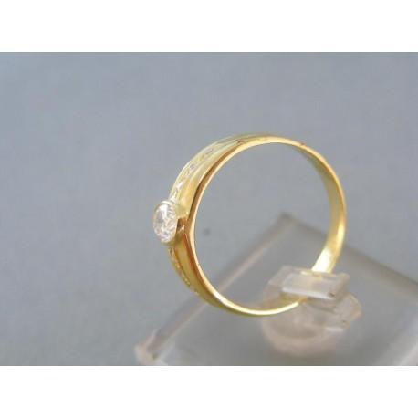 Vzorovaný dámsky prsteň žlté zlato kamienky zirkónu