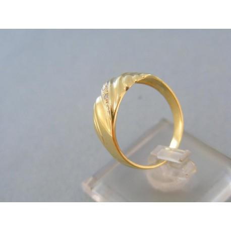Elegantný zlatý prsteň žlté zlato kamienky