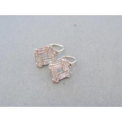 Zlaté detské náušnice štvorčeky biele zlato kamienky DA139B