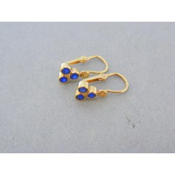 Zlaté náušnice detské žlté zlato tri modré kamienky DA113Z