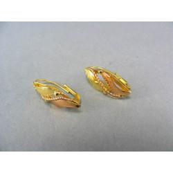 Zlaté náušnice viacfarebné zlato VA315V
